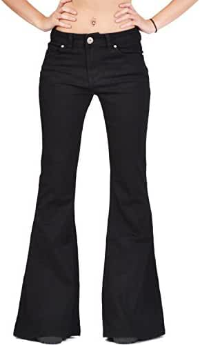 Glamour Outfitters Women's 60s 70s Flares Bell-Bottom Wide Flared Jeans - Black