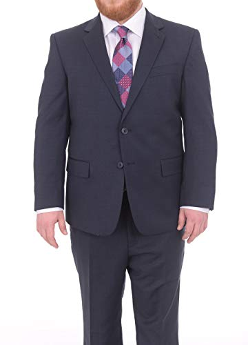 (Lazetti Couture Portly Fit Navy Blue Textured Two Button Super 130's Wool Suit)