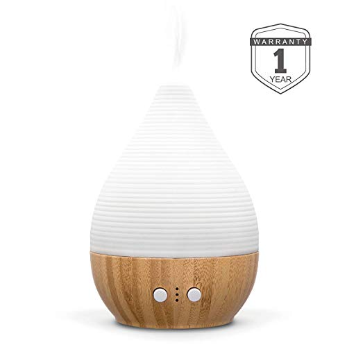 Bre Essential Oil Diffuser 180ML handmade Ceramic&Bamboo Aromatherapy Humidifier with adjustable mist mode&night light, waterless auto shut-off and timing set, silent fan. ZEIGGA LAB