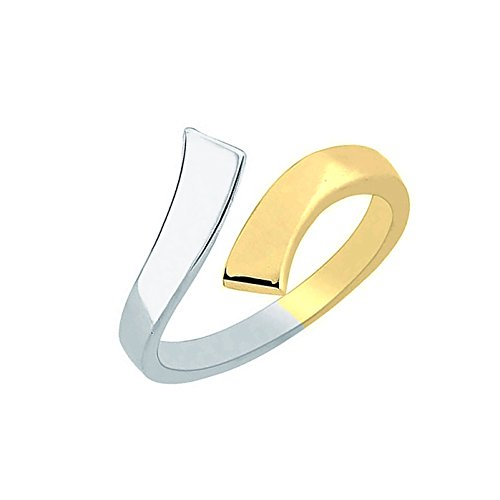 Ritastephens 10K Yellow White Two Tone Gold Crossover Shiny Toe Ring or Ring Body Art - Yellow Two Ring Tone Toe