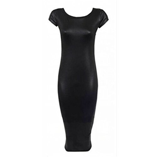 Cou Blansdi Sexy femme manches courtes O Lumière Jupe moulante robe noire