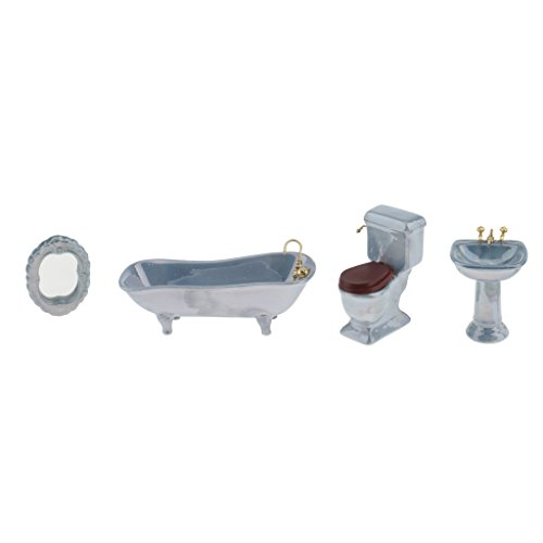 CUTICATE Dollhouse Miniature Ceramic Bathroom Set 1:12 Scale Model, Including Bathtub, Toilet, -