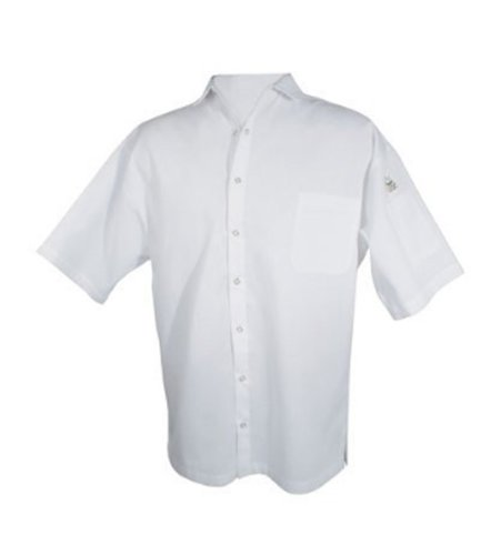 Chef Revival CS006WH 24/7 Poly Cotton Blend Short Sleeve Unisex Cook Shirt with Snap Closure Bottons, Small, White - Unisex Fashion Blend