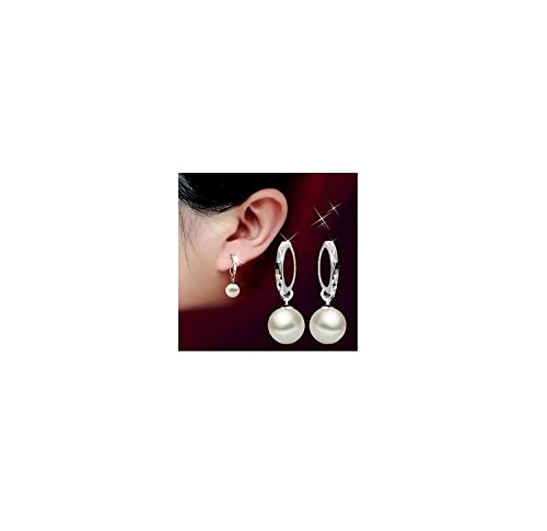 Smile Crytal - New Fashion Ladies 925 sterling Silver Freshwater Peal Dangle Ear stud - Womens Freshwater Earring