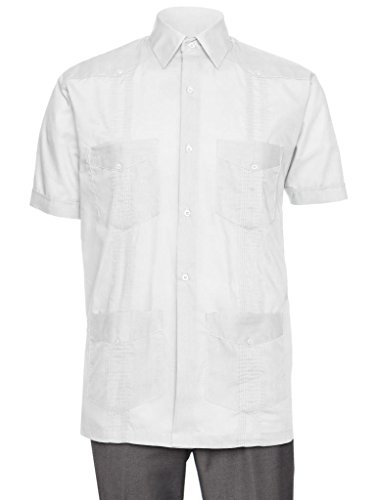 Gentlemens Collection Short Sleeve Guayabera Shirt - for Men Cuban White 2X