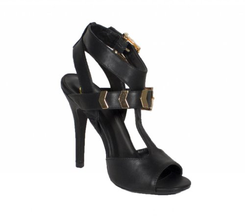 Arroyo! By Delicious Strappy Open toe High Heel Sandal Adjustable Buckles and Arow Strap Décor in Black Leatherette p7QX70rPN
