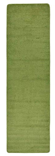 British Collection Solid Color Runner Area Rug 26 Inch Wide x Your Choice Length More Color Options Available Slip Skid Resistant Rubber Back (Sage Green, 2