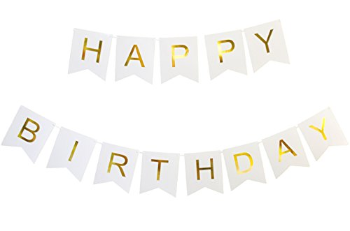 Keira Prince Happy Birthday Banner, Party Decorations, Versatile, Beautiful, Swallowtail Bunting Flag Garland, Chic White and Gold