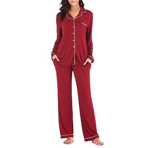 Pajamas Set Long for Women's Button Down Sleeve Sleepwear Nightclothes Soft Pj Lounge Sets Red