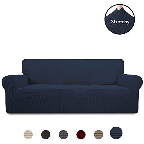 PureFit Stretch Sofa Slipcover - Spandex Jacquard Anti-Slip Soft Couch Sofa Cover, Washable Furniture Protector with Anti-Skid Foam and Elastic Bottom for Kids (Sofa, Navy)
