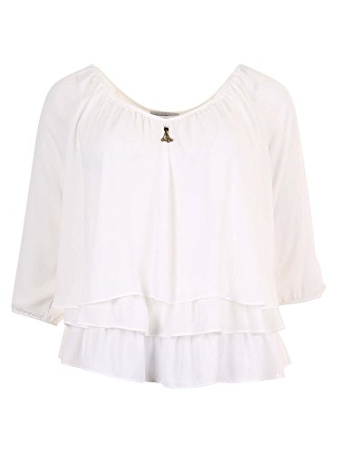 Joseph Ribkoff Off-White Layered Blouse with Golden Accent Style 171292 - Size 12 by Joseph Ribkoff