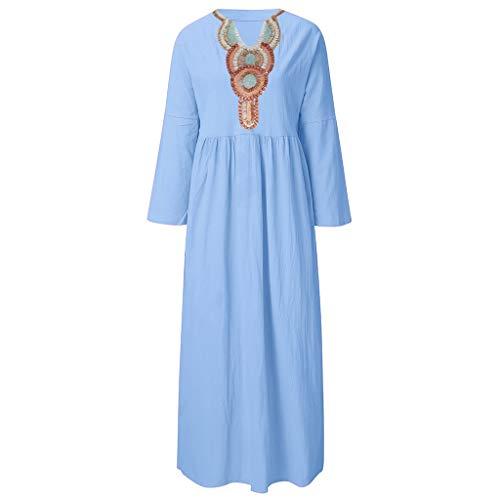 (Big Sale,YetouWomen Dress Summer Fashion Long T-Shirt Casual Boho Loose Shirt Dresses Sundress Blue)