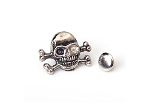 sea-junop Handmade Craft 20 Sets of Silver Skull Crossbones Rivets