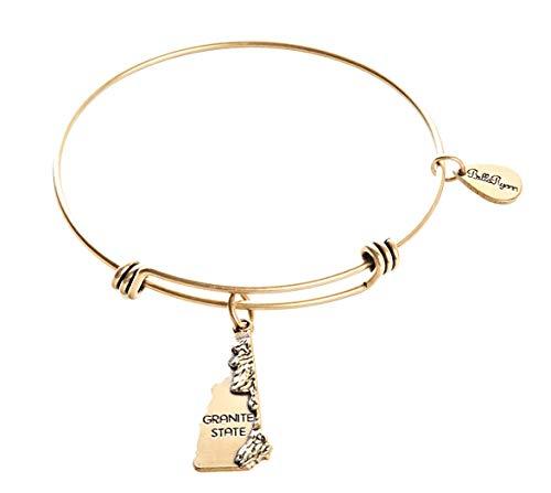 BellaRyann State Expandable Bangle Charm Bracelet in Vintage Gold (New Hampshire) ()