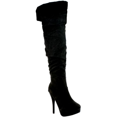 High Stiletto Boots Thigh Black Platform Womens Suede UHqTwnZ