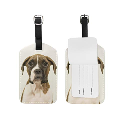 Mohado Cute Boxer Dog Puppy PU Leather Luggage Tags Suitcase Labels Bag Travel Accessories