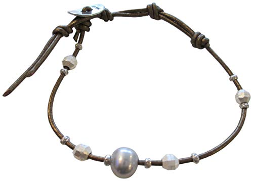 - Chan Luu Grey Freshwater Cultured Pearl and Nuggets Leather Single Wrap Bracelet