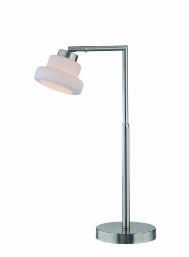 Lite Source LS-21470PS/FRO Flott Table Lamp, Polished Steel with Frost Glass Shade, Metallic ()