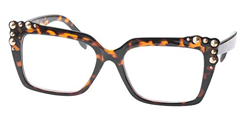 SOOLALA Ladies Oversized Sexy Square Rivet Stylish Frame Reading Glass, Leopard, - Rivet Ladies