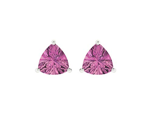 Euforia Jewels 14K White Gold Top Quality Natural Pink tourmaline 4x4 Trillion Cut Stud Earrings With Silver Sillicon ()