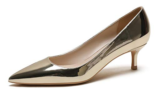 CAMSSOO Women's Low Heel D'Orsay Slip On Pointed Toe Dress Pumps Shoes Gold PU Size US9 EU42 (Leather Heels Circa)