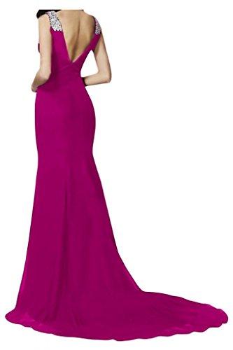 V-cuello de la Toscana de novia de Gasa de noche para mujer vestidos de bola de largo Prom vestido vestidos de fiesta fucsia
