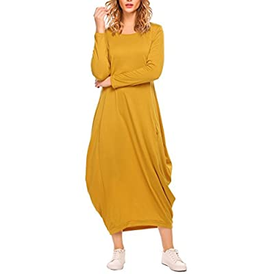 Discount Zeagoo Women Long Sleeve Baggy Loose Fit Pockets Casual Maxi Long Dress for sale