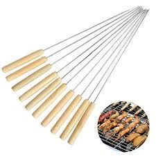 GrabMore Barbeque Skewers for BBQ Tandoor, Grill Stainless Steel Stick with Wooden Handle, Pack of 10