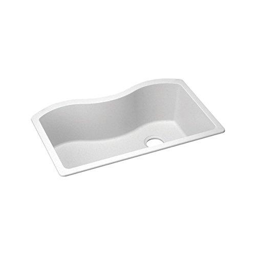 Elkay ELGUS3322RWH0 Harmony 20-Inch x 33-Inch Single Basin Undermount Quartz Classic Composite Kitchen Sink White