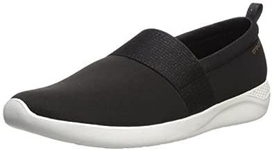 Crocs Women's LiteRide Slip-On Shoe, Black/Rose Gold/White, W4