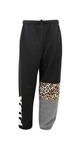 Victoria's Secret Pink Campus Pant Animal Print/Leopard Black Large NWT ()