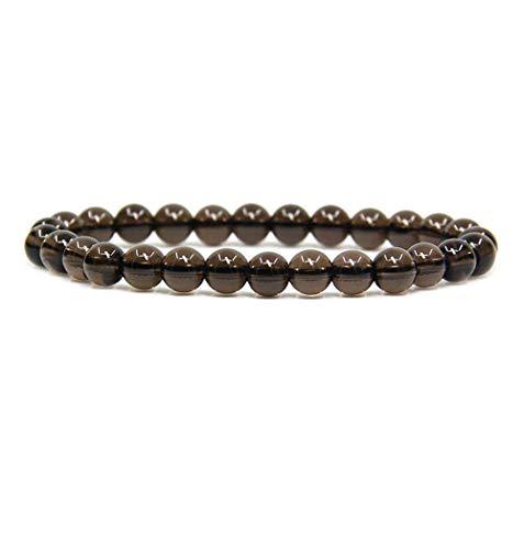 (Natural A Grade Smoky Quartz Gemstone 6mm Round Beads Stretch Bracelet 7
