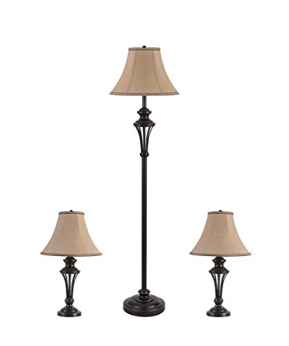 3 Pack Lamp Set (2 Table Lamps, 1 Floor Lamp), 3-Piece Vintage Style Table and Floor Lamp Set in Bronze Finish with Brown Fabric Lamp Shades, 26