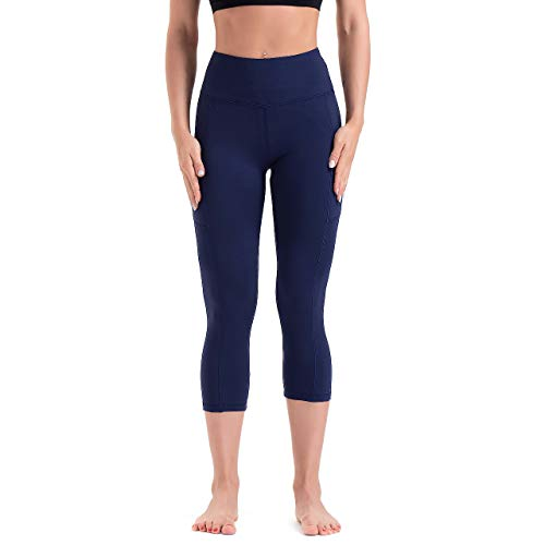 HLTPRO High Waist Yoga Pants for Women with Pockets, Soft Tummy Control Leggings for Running, Workout, Athletic, Fitness