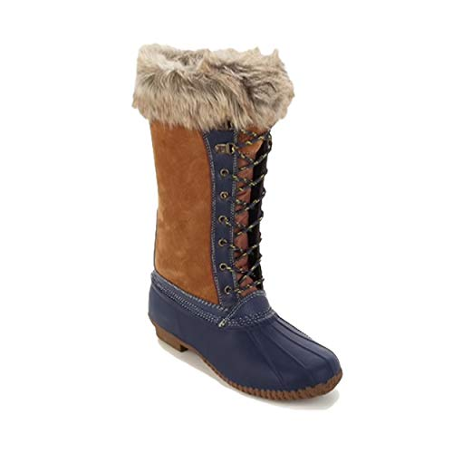 sporto Waterproof Suede Leather Faux Fur Trim Womens Duck Boot (7 M, Chestnut/Navy)