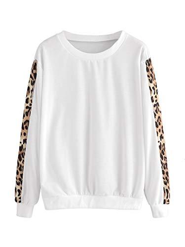 SweatyRocks Womens Contrast Leopard Print Sleeve Round Neck Long Sleeve Sweatshirt Casual Pullover Tops Blouse