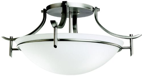 Kichler 3606AP Semi-Flush 3-Light, Antique Pewter