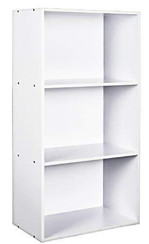 TOP-MAX Bookshelf Organizer White Office Storage Rack 3-Shelf Bookcase Bookshelves Book Storage Display Shelf Rack Freestanding Storage Cabinet Unit for Living Room Bedroom Office