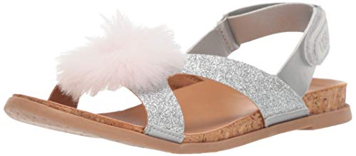 UGG Girls' K Fonda Glitter POM Sandal, Silver, 1 M US Little Kid