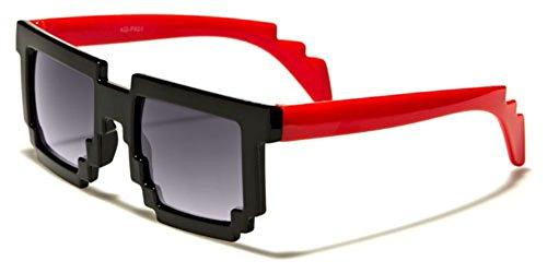 Kids 8-Bit Pixel Gamer Nerd Sunglasses - Dark or Clear - Bit Prescription Glasses 8