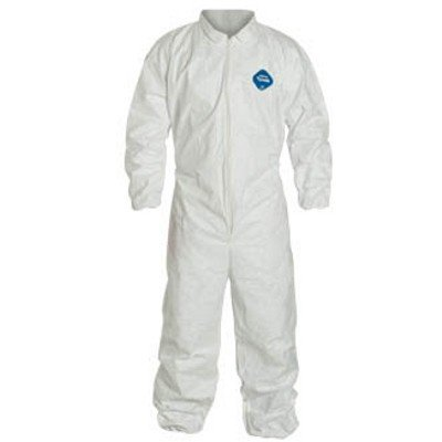 DuPont Tyvek White Coverall With Zipper Front And Elastic Wrists And Ankles XL TY125SWH-XL