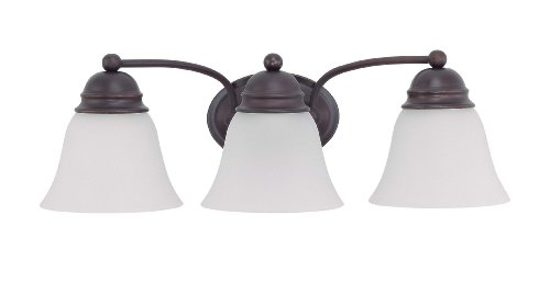 (Nuvo Lighting 60/3357 Empire 3-Light Vanity with Frosted Glass Shade, Mahogany Bronze)