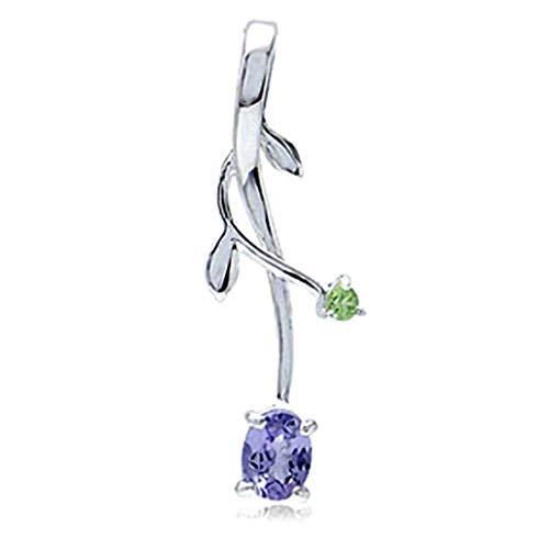 Silvershake Genuine Tanzanite and Peridot 925 Sterling Silver Vine Leaf Pendant (Sterling Silver Vine Necklace)