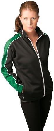 Ladies Oslo Jacket (Black/Emerald w/White Piping, SM)