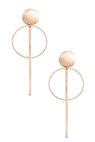 Trendy Fashion Jewelry Brushed Round and Drop Post Earring By Fashion Destination | (Rose (Erickson Beamon Chandelier Earrings)