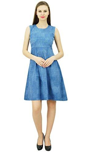 Kleid Frauen Sleeveless Blau Kasten Denim Sommer Bimba Kleider Beiläufige Gefaltete