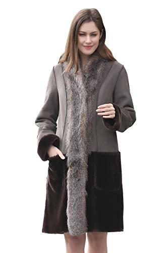 Adelaqueen Grey Faux Fur Coat Women Coats Winter Winter Coat Women Faux Fur Coats Swing Coat Women Plus Size Winter Coats for Women Plus Size Fur Coats Winter Coats for -