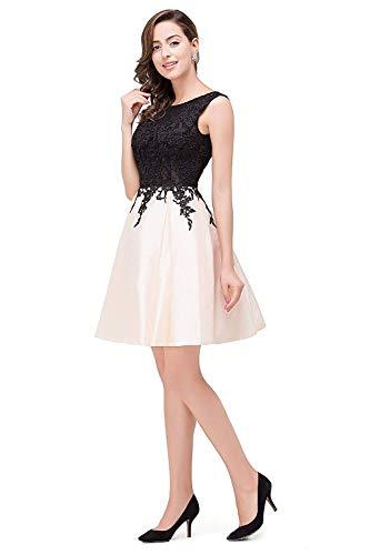 Elegante Dama Bonito Sin Tafetán Moda Redondo Honor Noche Mode Cóctel Vintage Una Marca Encaje De Fino Mangas Vestido Beige Línea Y Corto Cuello PxwTIXnHq