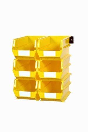 (Triton Products 3-240YWS LocBin 8 Piece Wall Storage Unit with 14-3/4 Inch L x 8-1/4 Inch W x 7 Inch H Yellow Interlocking Poly Bins, 6 CT, Wall Mount Rails)