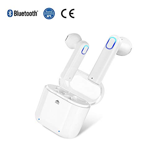 Bluetooth Headset Wireless Headphones Earbuds Invisible Cordless Rechargeable Earpiece for Laptop Smartphone Tablet Gaming Office Outdoor Voyager with HiFi 3D Stereo Sound (White)